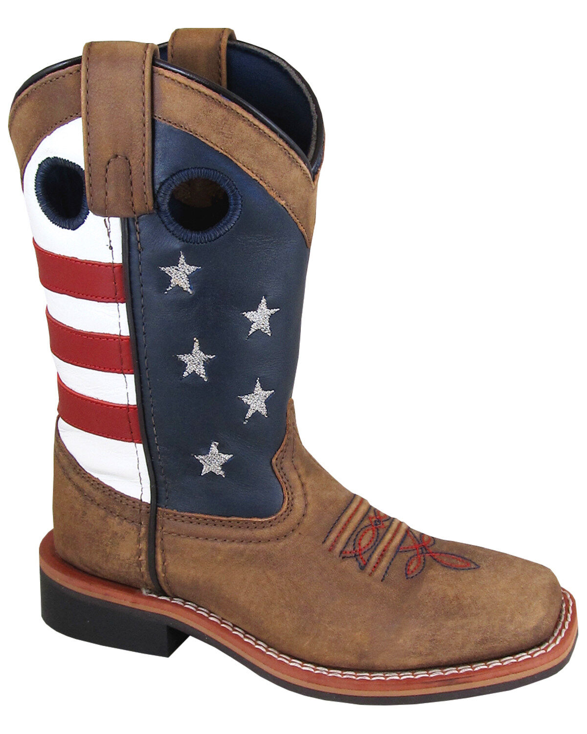 Smoky Mountain Youth Boys Scout Brown//Cream Leather Cowboy Boots