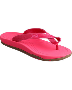 Twisted X Women's Leather Strap Sandals, Pink, hi-res