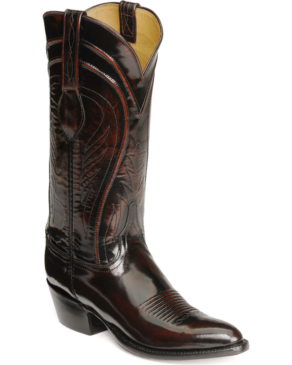 Lucchese Handmade Classics Seville Goatskin Boots - Pointed Toe, Black Cherry, hi-res