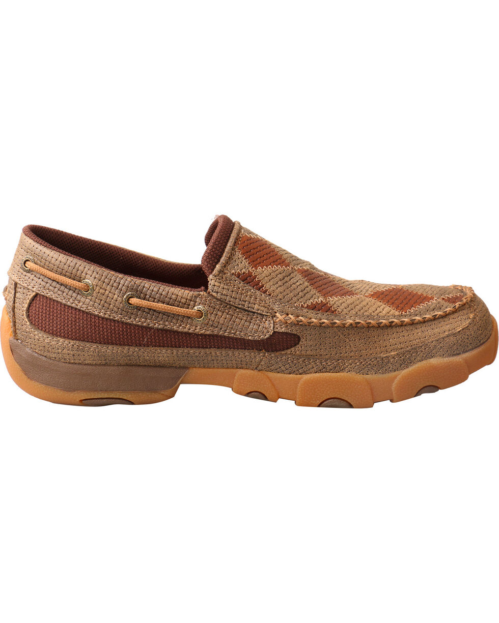 Twisted X Men's Diamond Pattern Slip-On Driving Mocs - Moc Toe, Brown, hi-res