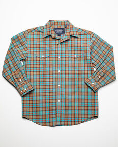 Rough Stock By Panhandle Boys' Sutter Vintage Plaid Long Sleeve Western Shirt , Brown, hi-res