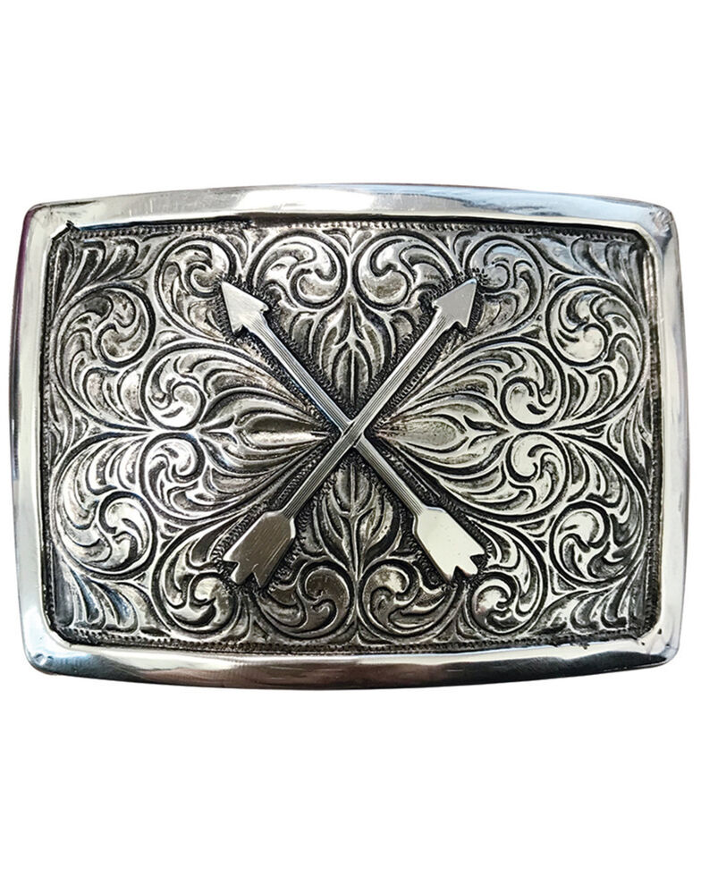 And West Antique Silver Crossed Arrows Buckle, Silver, hi-res