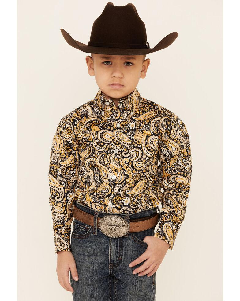 Cinch Toddler Boys' Navy Paisley Print Button Long Sleeve Western Shirt , Navy, hi-res