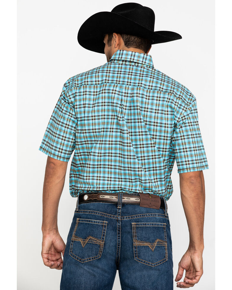 Rough Stock By Panhandle Men's Bergen Ombre Plaid Short Sleeve Western Shirt , Turquoise, hi-res