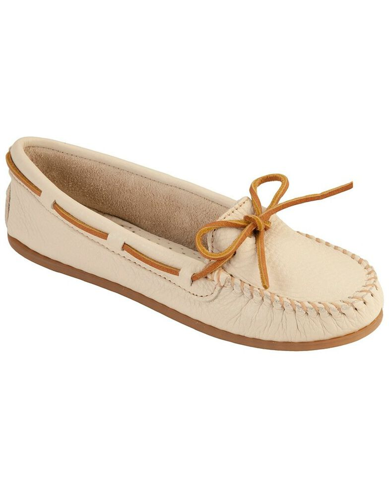 Women's Minnetonka Boat Moccasins, Off White, hi-res
