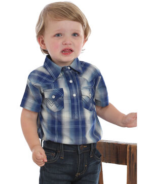 Wrangler Infant Boys' Plaid Short Sleeve Snap Western Onesie, Blue, hi-res