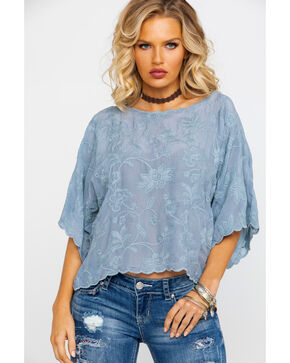 Johnny Was Women's Rossa Cropped Top , Light Grey, hi-res