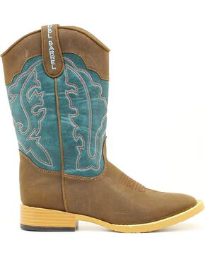 Double Barrel Boys' Open Range Side Zipper Cowboy Boots - Square Toe, Brown, hi-res