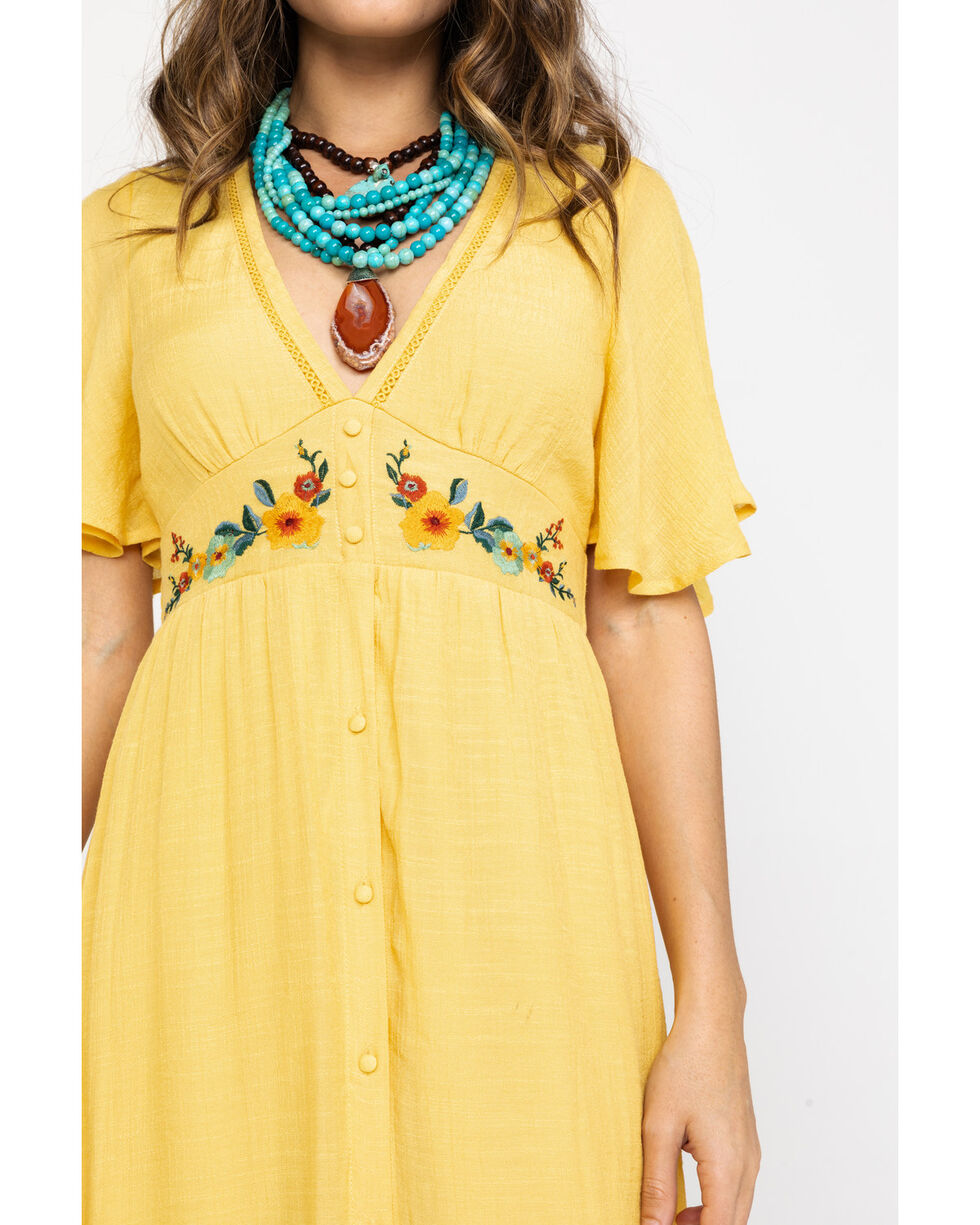 Flying Tomato Women's Embroidered Button Down Maxi Dress, Dark Yellow, hi-res