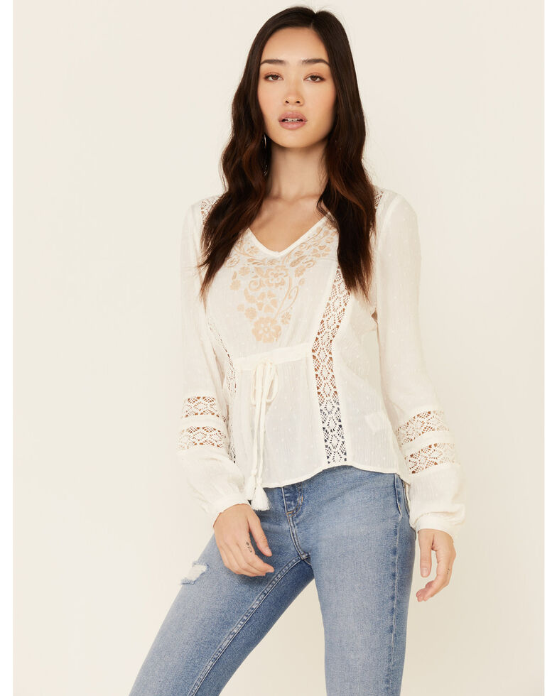 Idyllwind Women's Western Romance Long Sleeve Top , Ivory, hi-res