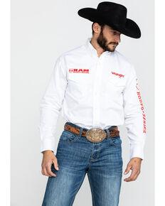 Wrangler Men's White Solid RAM Logo Long Sleeve Western Shirt, White, hi-res