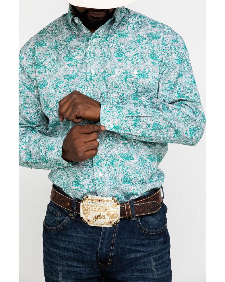 George Strait By Wrangler Emerald Paisley Print Long Sleeve Western Shirt , Green, hi-res