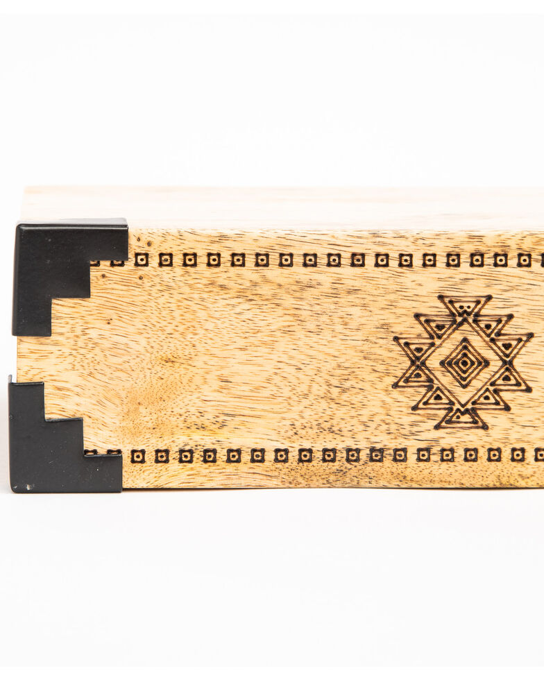 Boot Barn Ranch Etched Aztec Wood Wall Shelf , Brown, hi-res
