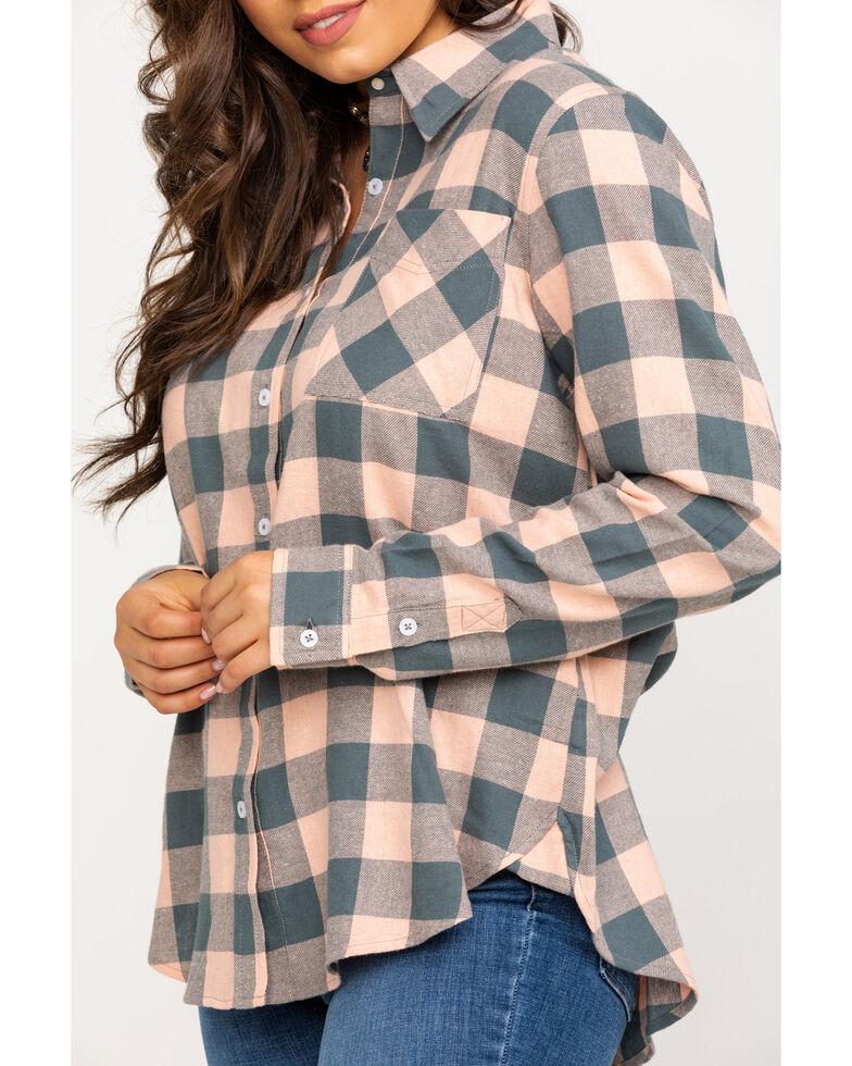 Wrangler Women's Dark Slate Flannel Button Shirt, Pink, hi-res