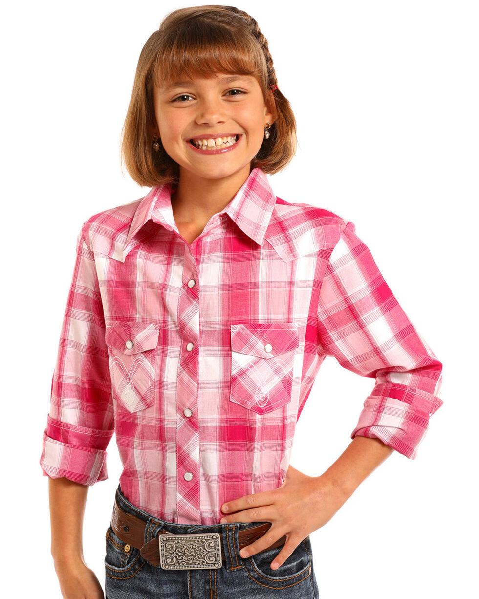 Panhandle Girls' Pink Plaid Western Shirt , , hi-res