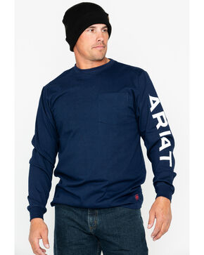 Ariat Men's Pocket Logo Crew Work Long Sleeve Shirt , Navy, hi-res