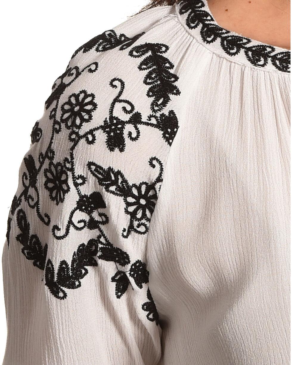 Bila Women's White Embroidered Crinkle Blouse , White, hi-res
