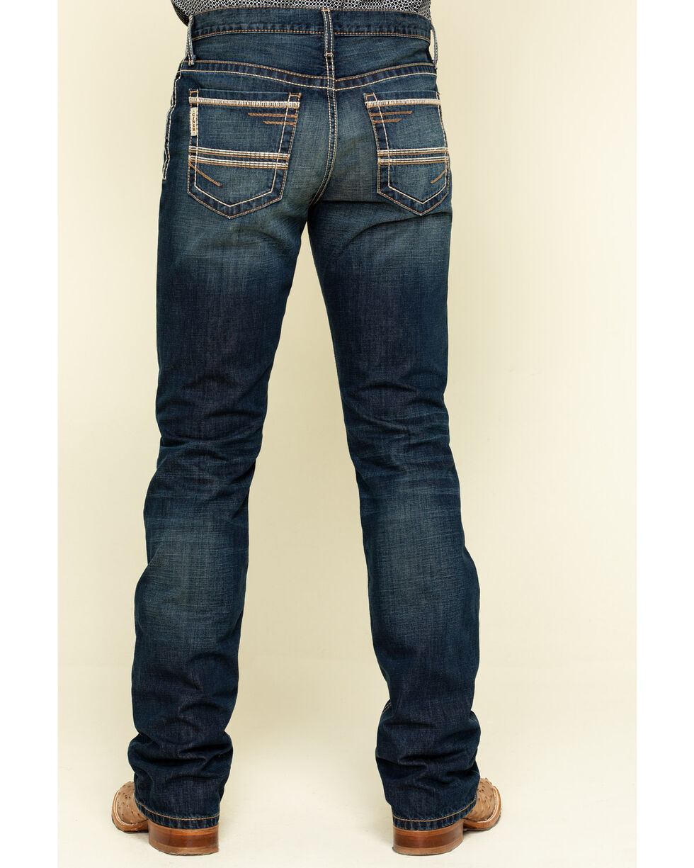 Cinch Men/'s Grant relaxed boot cut jean coutures Mid-Rise Dark Wash MB61737001