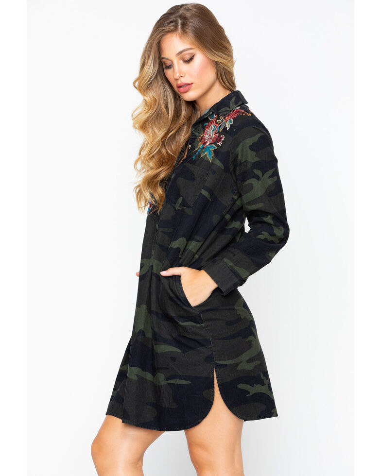 Johnny Was Women's Tyrell Collared Tunic Dress , Camouflage, hi-res