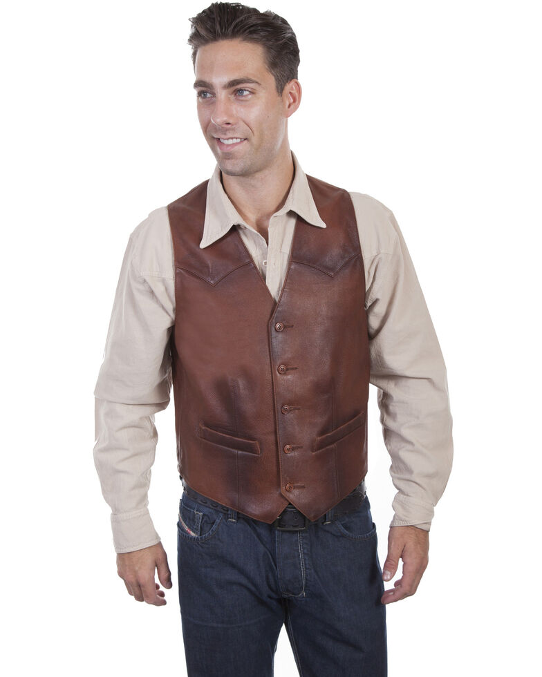 Scully Men's Classic Western Leather Vest, Brown, hi-res