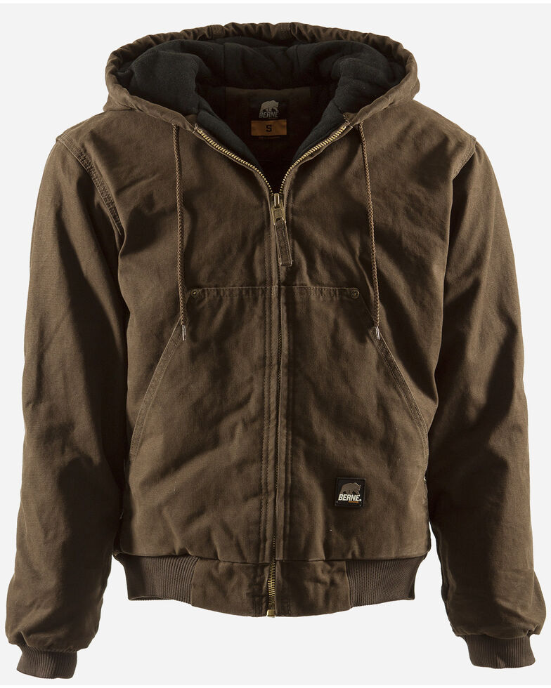 Berne Men's Original Washed Hooded Work Jacket - Quilt Lined - 3XT & 4XT, Bark, hi-res