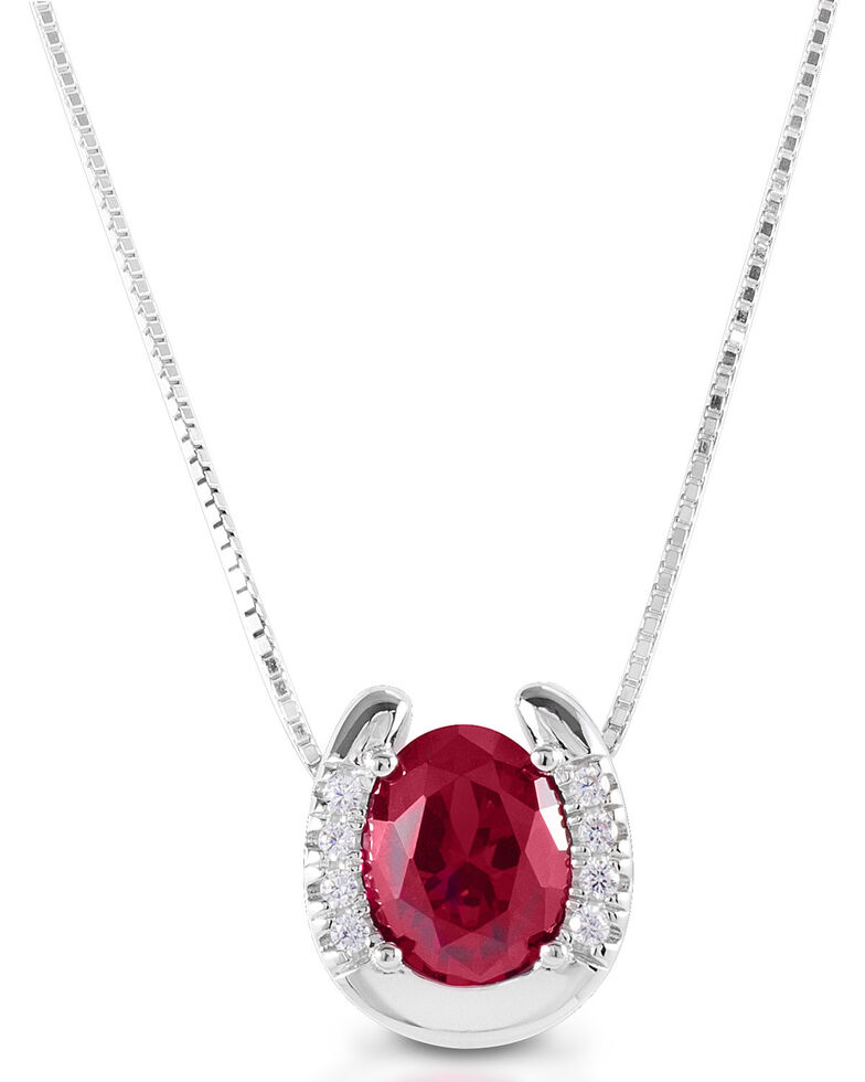 Kelly Herd Women's Red Stone Horseshoe Necklace  , Silver, hi-res