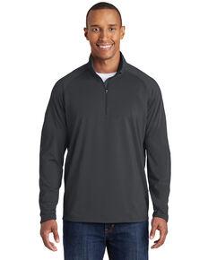 Sport Tek Men's Charcoal Sport Wick Stretch 1/2 Zip Pullover Work Sweatshirt , Charcoal, hi-res