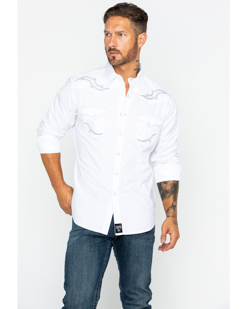 Rock 47 by Wrangler Men's White Fancy Yoke Shirt , White, hi-res
