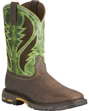 Ariat Men's WorkHog® VentTEK Broad Square Pull-On Work Boots, Brown, hi-res