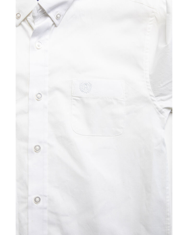 Panhandle Select Boys' White Solid Stretch Long Sleeve Western Shirt , White, hi-res