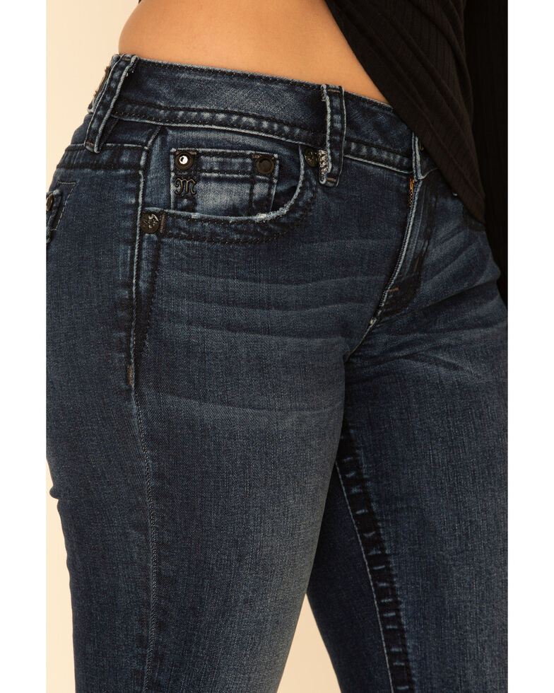Miss Me Women's Dark Wash Basic X-Embroidered Flap Flare Jeans  , Blue, hi-res