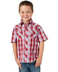 Wrangler Boys' Red Plaid Fashion Snap Short Sleeve Western Shirt , Red, hi-res