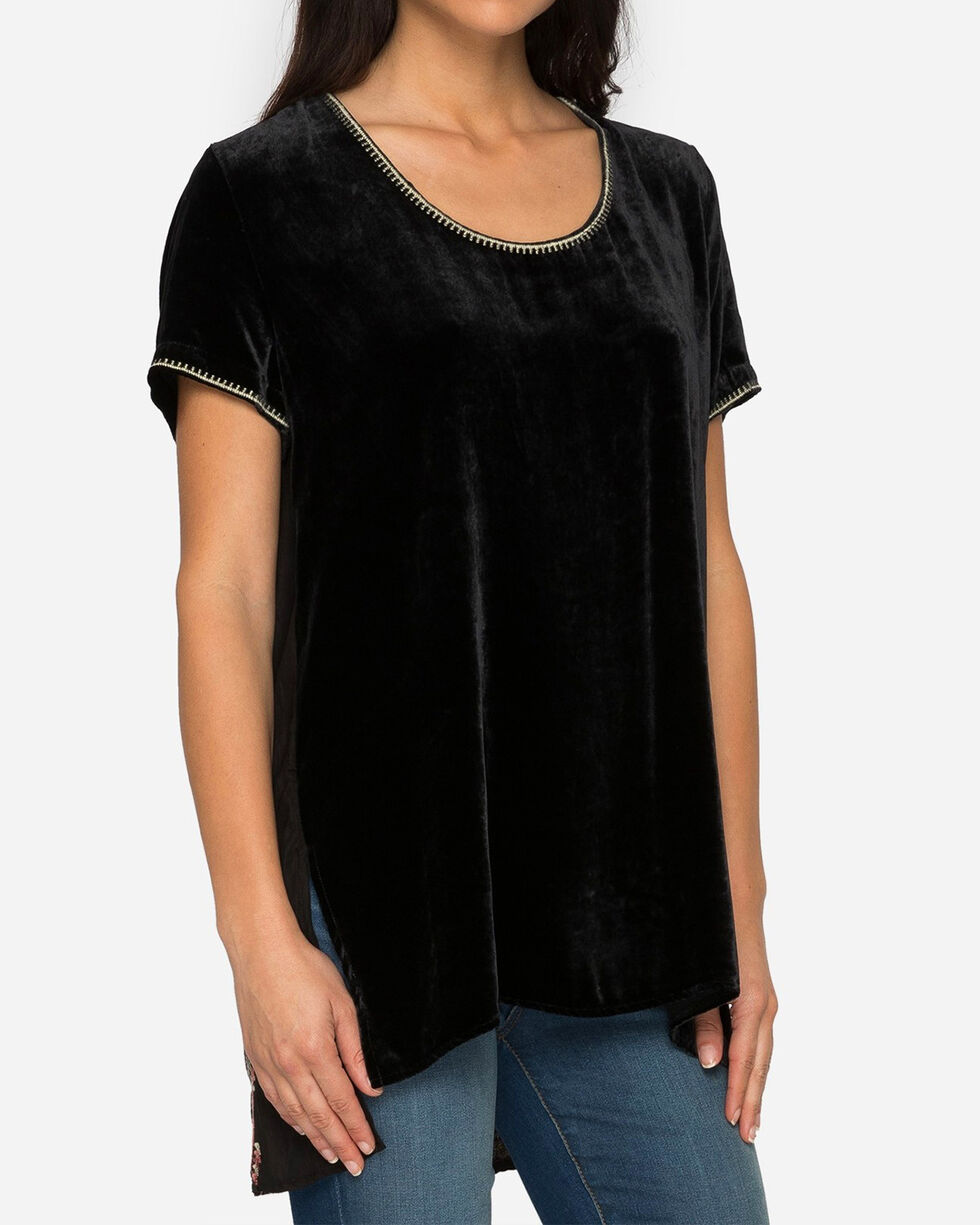Johnny Was Women's Black Aspen Velvet Scarf Back Tee , Black, hi-res