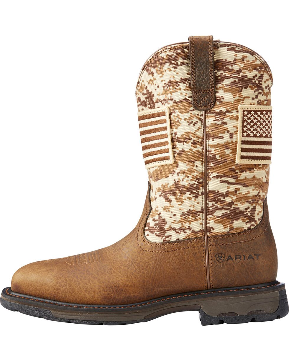 Ariat Men's WorkHog Patriot Earth/Sand Camo Boots - Square Toe, Sand, hi-res