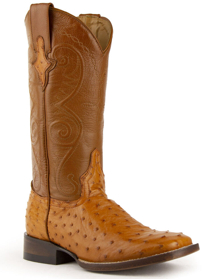 Ferrini Women's Full Quill Ostrich Square Toe Exotic Boots, Cognac, hi-res