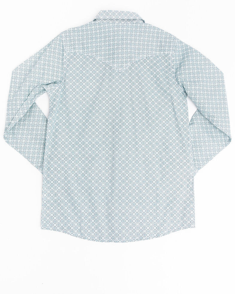 Cody James Boys' Rosarito Floral Geo Print Long Sleeve Western Shirt , Turquoise, hi-res