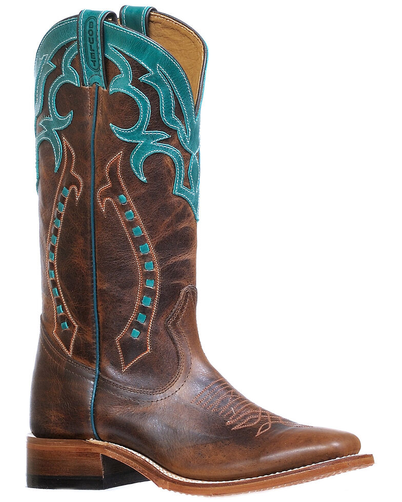 Boulet Women's Arrow Embroidered Western Boots - Wide Square Toe, Brown, hi-res