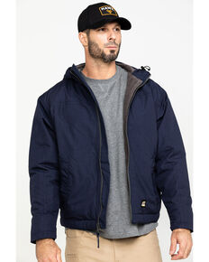 Berne Men's Navy Torque Ripstop Hooded Work Jacket - Tall , Navy, hi-res
