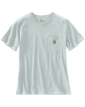Carhartt Women's Solid Workwear Pocket Work T-Shirt , Heather Blue, hi-res