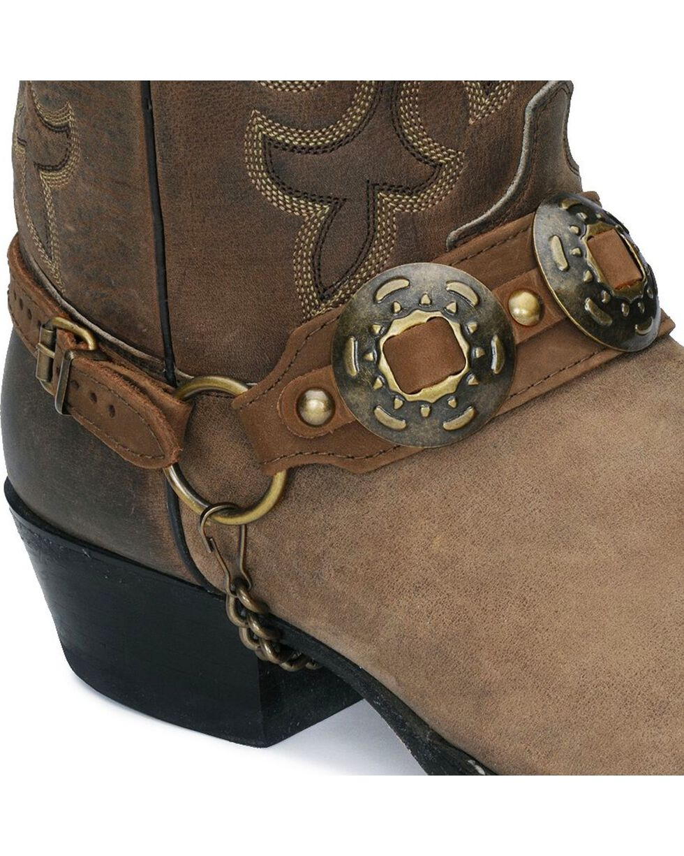 Concho Leather Boot Strap, Brown, hi-res