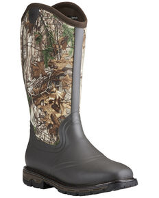 Ariat Men's Conquest Neoprene Realtree Rain Boots - Wide Square Toe, Brown, hi-res