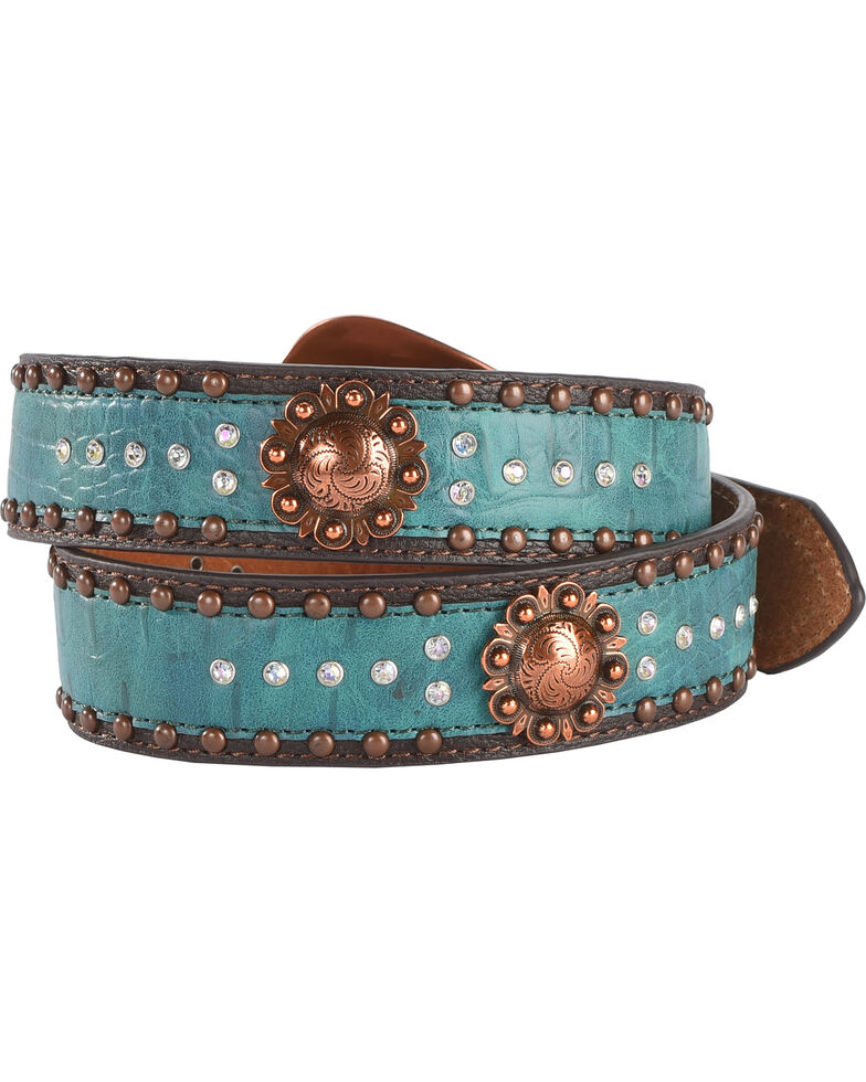 Shyanne Women's Turquoise Concho and Bling Belt, , hi-res