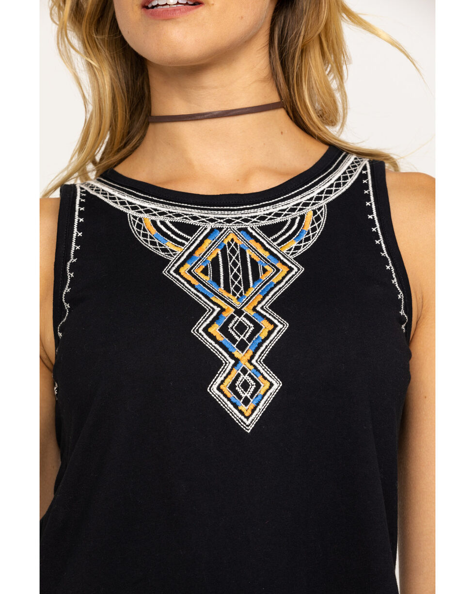 Miss Me Women's Black Aztec Embroidered Tank Top, Black, hi-res