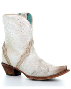 Corral Women's Bone Embroidery & Swarovski Fashion Booties - Snip Toe, Ivory, hi-res