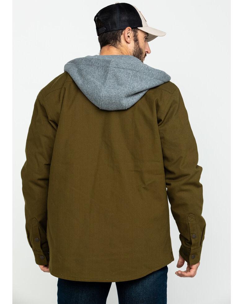 Hawx Men's Olive Flannel Lined Hooded Canvas Shirt Work Jacket , Olive, hi-res