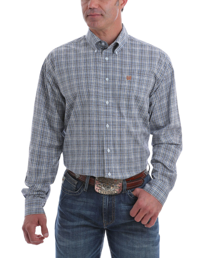 Cinch Men's Light Blue Stretch Plaid Long Sleeve Western Shirt , Light Blue, hi-res