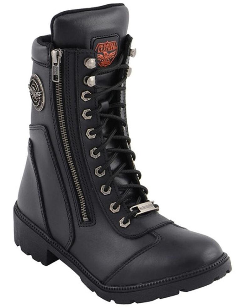 Milwaukee Leather Women's Black Moto Zipper Boots - Soft Toe, Black, hi-res