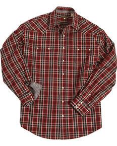 Stetson Men's Red Matrix Plaid Long Sleeve Western Shirt , Red, hi-res