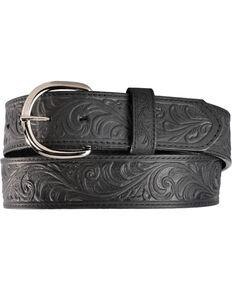 Justin Men's Black Hand Tooled Western Belt, Black, hi-res