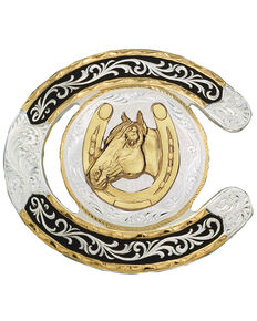Montana Silversmiths Horseshoe Western Belt Buckle, Multi, hi-res